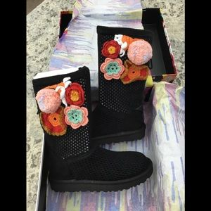 UGG Floral Crochet Genuine Shearling Boot